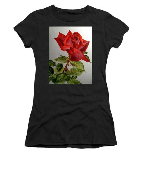 One Single Red Rose Women's T-Shirt (Athletic Fit)