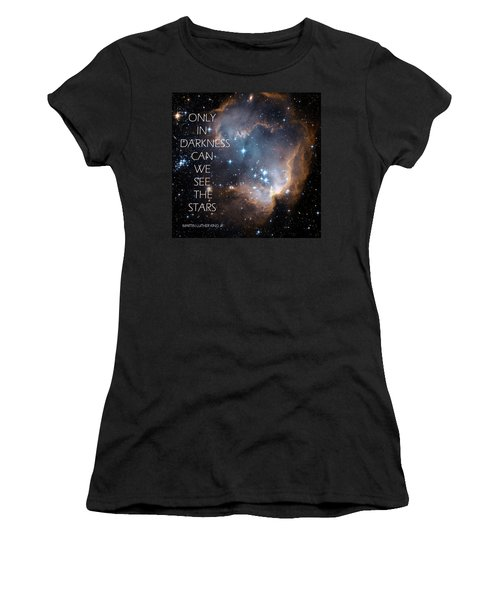 Women's T-Shirt (Junior Cut) featuring the digital art Only In Darkness by Lora Serra