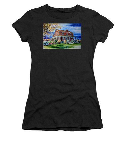 Women's T-Shirt (Athletic Fit) featuring the painting Ontario House Portrait  by Hanne Lore Koehler