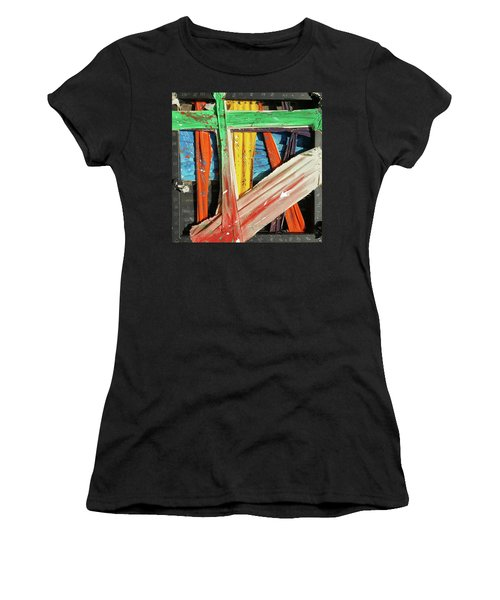 Women's T-Shirt featuring the painting Opposites Attract by John Jr Gholson