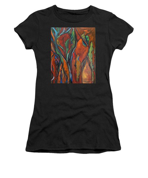 Orange Abstract Women's T-Shirt (Athletic Fit)