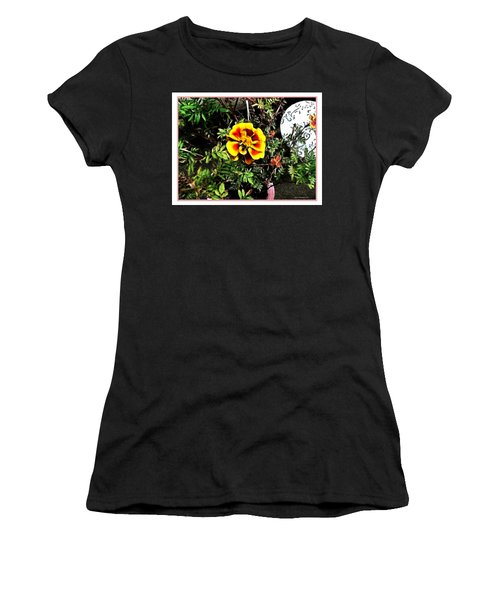Women's T-Shirt (Junior Cut) featuring the photograph Orange And Yellow Flower by Joan  Minchak