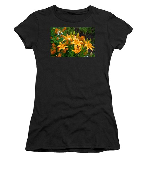 Women's T-Shirt (Junior Cut) featuring the photograph Orange Asiatic Lilies And Butterfly Weed by Kathryn Meyer