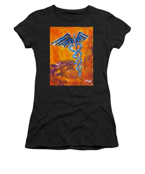 Orange Blue Purple Medical Caduceus Thats Atmospheric And Rising With Mystery Women's T-Shirt (Athletic Fit)