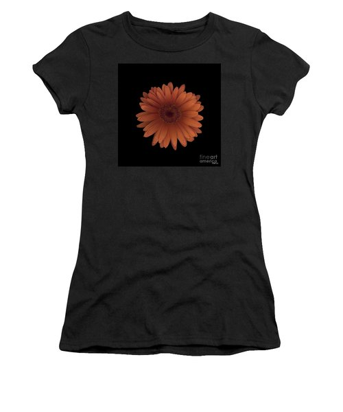 Orange Daisy Front Women's T-Shirt (Athletic Fit)