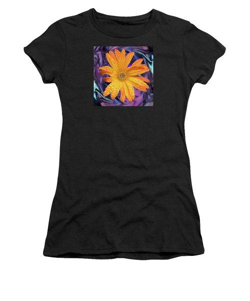 Orange Daisy Swirl Women's T-Shirt (Athletic Fit)