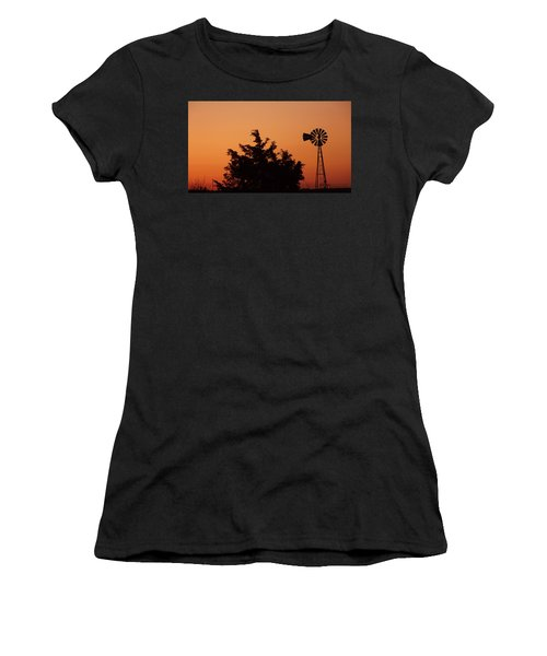 Orange Dawn With Windmill Women's T-Shirt (Athletic Fit)