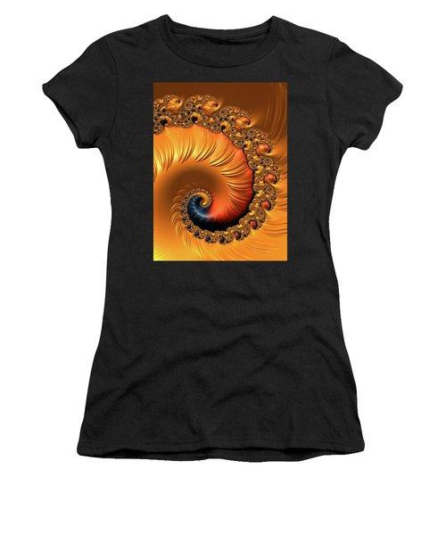 Women's T-Shirt (Athletic Fit) featuring the digital art Orange Fractal Spiral Warm Tones by Matthias Hauser