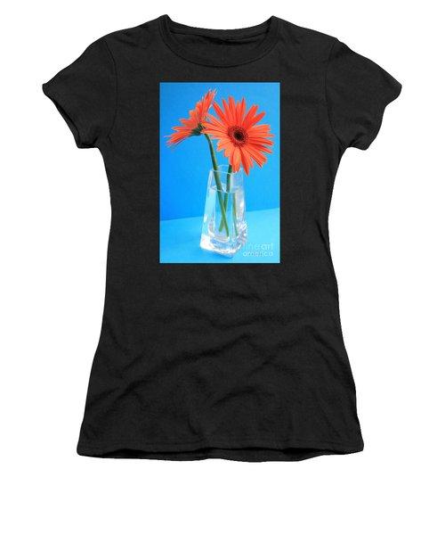 Orange Gerberas In A Vase - Aqua Background Women's T-Shirt
