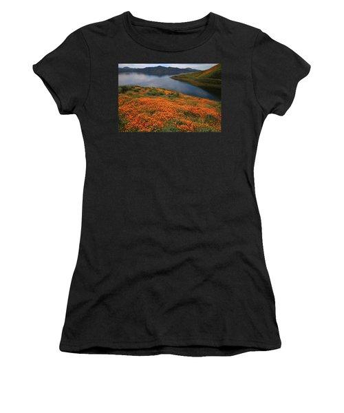 Orange Poppy Fields At Diamond Lake In California Women's T-Shirt (Athletic Fit)