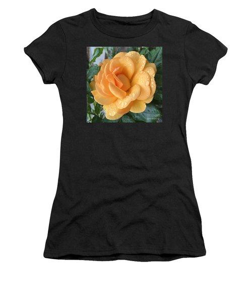 Orange Rain Drops Women's T-Shirt (Athletic Fit)