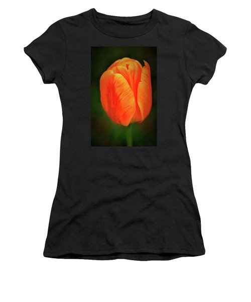Women's T-Shirt featuring the photograph Orange Tulip Painting Neo Rembrandt Style by Matthias Hauser