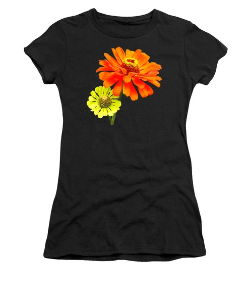 Orange Zinnia And Yellow Zinnia Women's T-Shirt