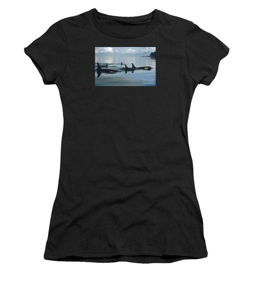Women's T-Shirt featuring the photograph Orca Pod Johnstone Strait Canada by Flip Nicklin