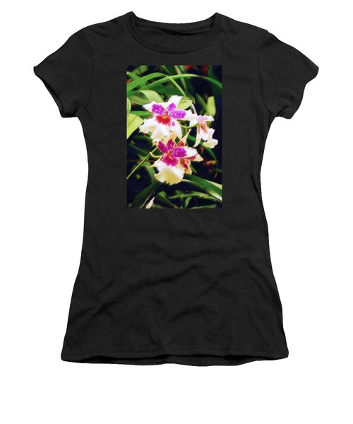 Women's T-Shirt (Junior Cut) featuring the painting Orchids 1 by Sandy MacGowan