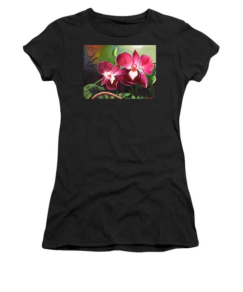 Orchids In The Night Women's T-Shirt (Athletic Fit)