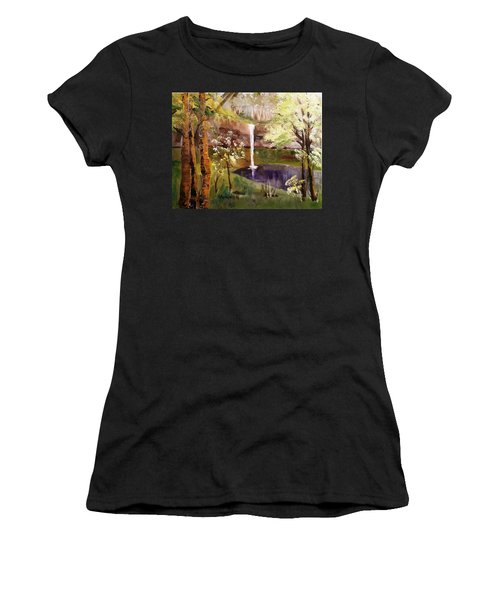 Oregon Waterfall Women's T-Shirt (Athletic Fit)