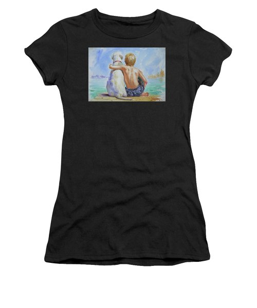 Original Watercolour Painting Nude Boy And Dog On Paper#16-11-18 Women's T-Shirt (Athletic Fit)