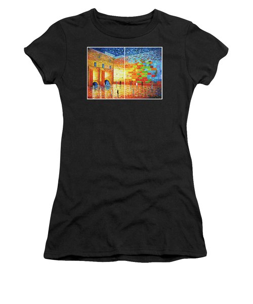 Women's T-Shirt (Athletic Fit) featuring the painting Original Western Wall Jerusalem Wailing Wall Acrylic 2 Panels by Georgeta Blanaru