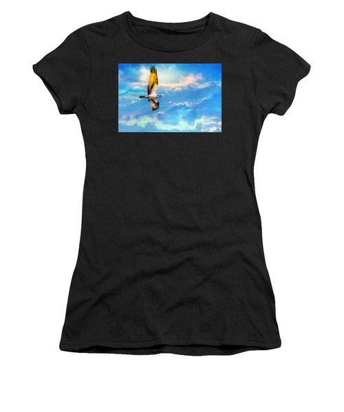 Osprey Soaring High Against A Beautiful Sky Women's T-Shirt