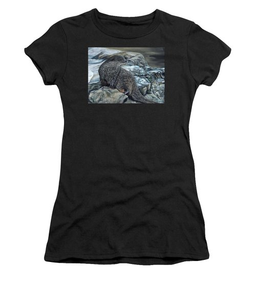 Otter On Rocks Women's T-Shirt (Athletic Fit)