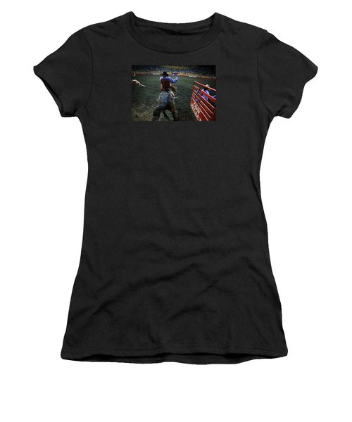 Women's T-Shirt featuring the photograph Out Of The Chute by John King