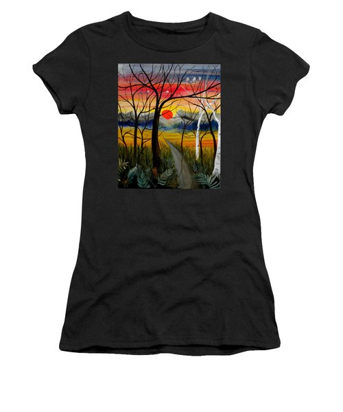Women's T-Shirt (Junior Cut) featuring the painting Out Of The Woods by Renate Nadi Wesley
