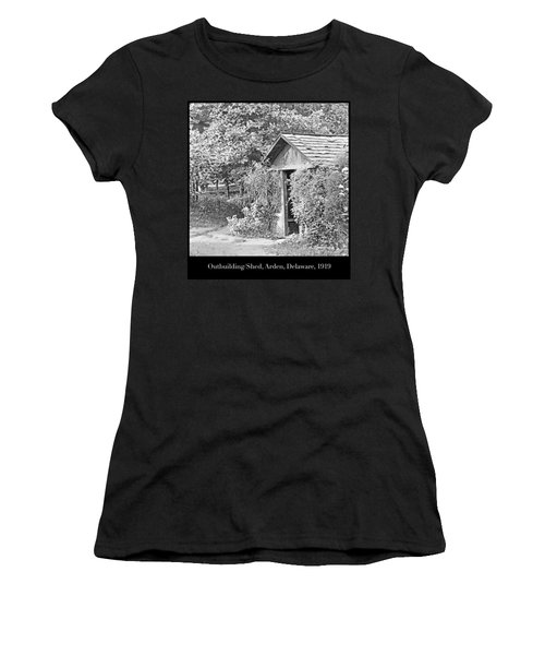 Women's T-Shirt (Junior Cut) featuring the photograph Outbuilding, Shed Arden Delaware 1919 by A Gurmankin