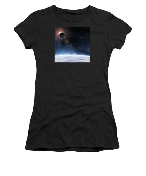 Women's T-Shirt (Junior Cut) featuring the digital art Outer Atmosphere Of Planet Earth by Phil Perkins