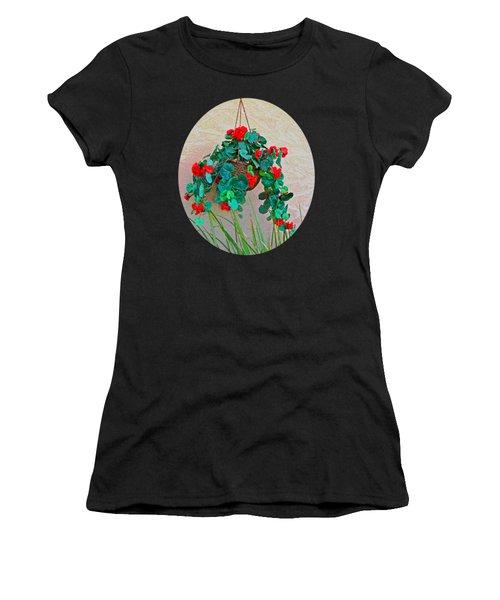 Oval Hanging Geraniums Basket With Dark Green Background Women's T-Shirt