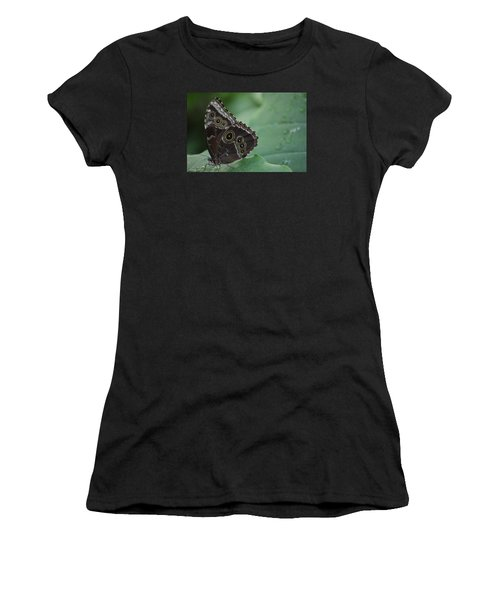 Owl Butterfly Women's T-Shirt (Junior Cut) by Linda Geiger