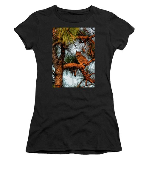 Owl In The Very Last Sunset Light Women's T-Shirt (Athletic Fit)
