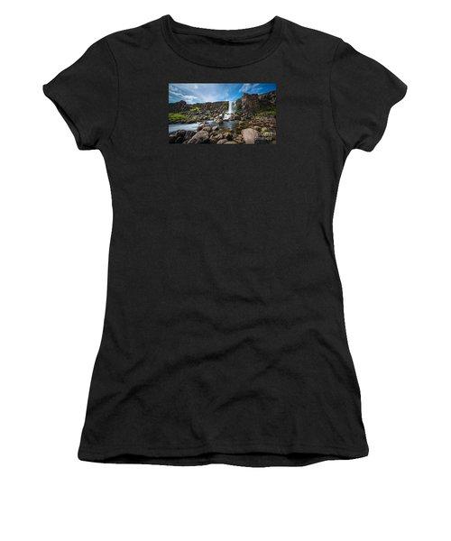 Oxararfoss Waterfall  Women's T-Shirt