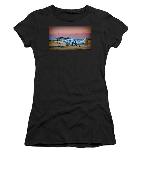 P-51d Mustang 'dakota Kid II. The Long Island Kid' And Casey Odegaard Women's T-Shirt (Athletic Fit)