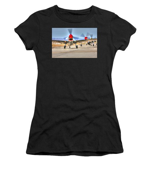 Women's T-Shirt featuring the photograph P40 Warhawk Taxis At Hollister by John King