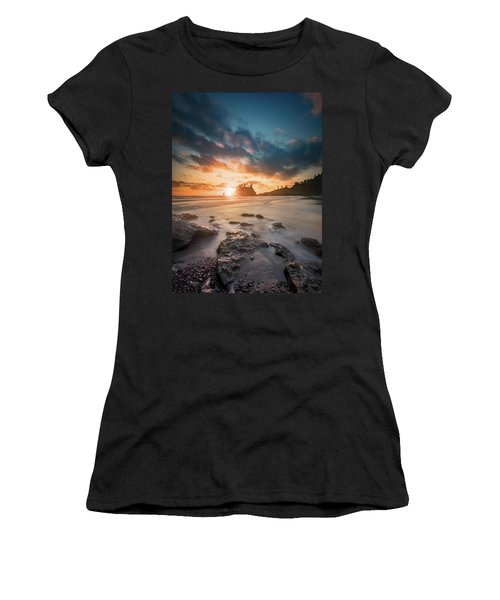 Women's T-Shirt (Athletic Fit) featuring the photograph Pacific Sunset At Olympic National Park by William Lee
