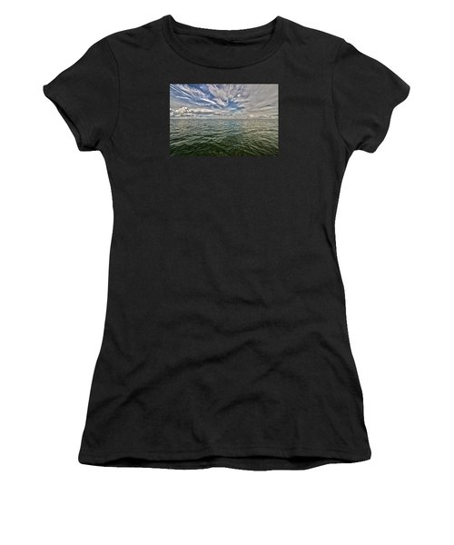 Paint Brush Sky - Ft Myers Beach Women's T-Shirt (Junior Cut) by Christopher L Thomley