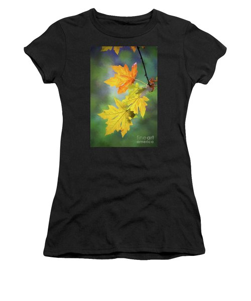 Painted Autumn Leaves Women's T-Shirt (Athletic Fit)
