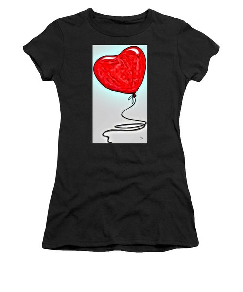 Women's T-Shirt featuring the painting Painted Heart by Marian Palucci-Lonzetta