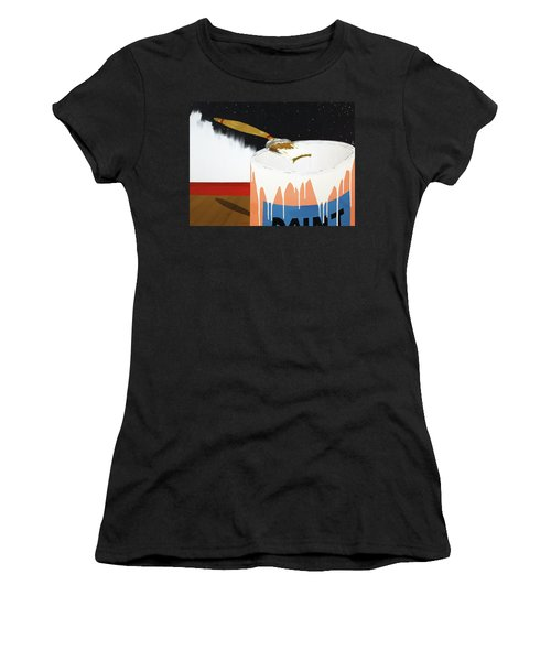 Women's T-Shirt (Junior Cut) featuring the painting Painting Out The Sky by Thomas Blood