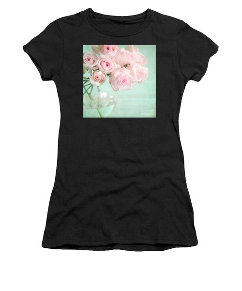 Pale Pink Roses Women's T-Shirt (Athletic Fit)