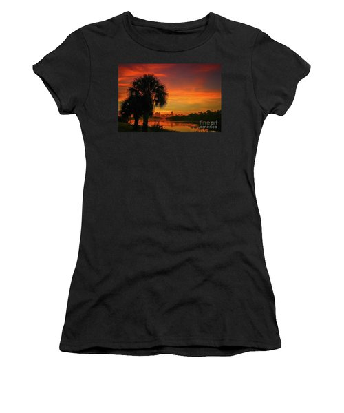 Women's T-Shirt featuring the photograph Palm Silhouette Sunrise by Tom Claud