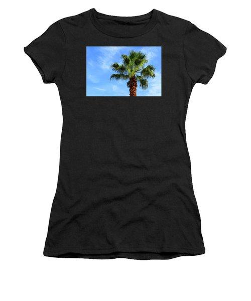 Palm Tree, Blue Sky, Wispy Clouds Women's T-Shirt (Athletic Fit)