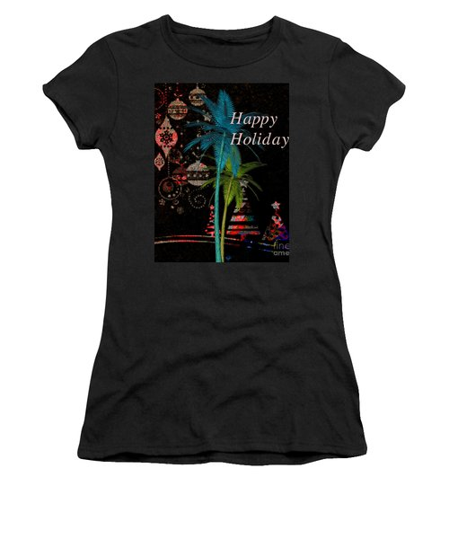 Palm Trees Happy Holidays Women's T-Shirt