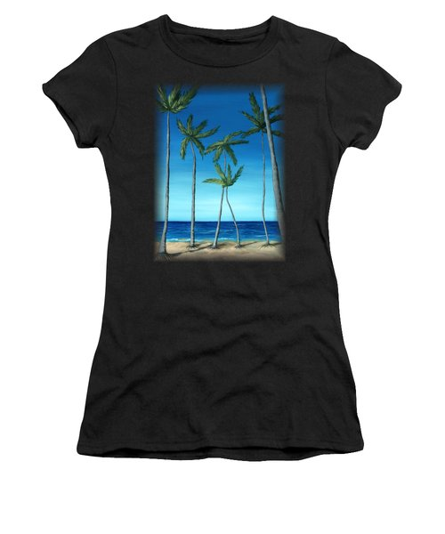 Palm Trees On Blue Women's T-Shirt