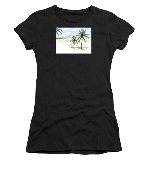 Women's T-Shirt featuring the painting Palm Trees On The Beach by Darren Cannell