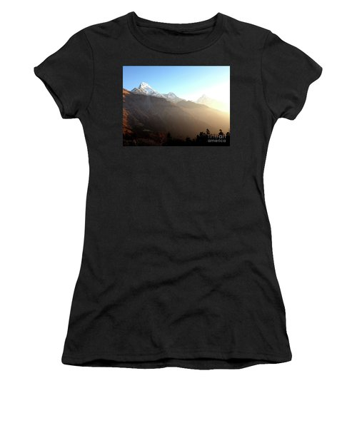 Panoramic Sunset View Of Everest Mountain Women's T-Shirt