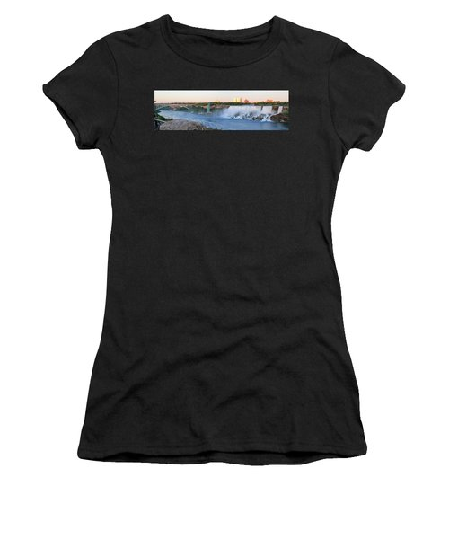 Panoramic Views Of The Peacebridge, Niagara River And American Falls Women's T-Shirt (Athletic Fit)