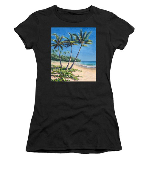 Tropical Paradise Landscape - Hawaii Beach And Palms Painting Women's T-Shirt