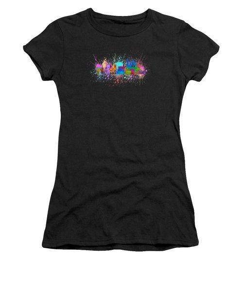 Paris Skyline Paint Splatter Color Illustration Women's T-Shirt